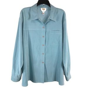 Talbots Faux Suede Stretch Shirt, Size L